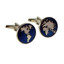 Blue Enamelled World Map Cufflinks X2N315