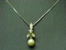 925 Sterling Argento Catena & rimorchi con Zirconi & Guarnizione con perle/2,5g 38,5 cm