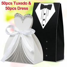 100Pcs Dress & Tuxedo Bride Groom Wedding Favor Ribbon Candy Bomboniere Boxes