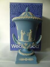 Boxed Large Wedgwood White on Pale Blue Jasperware Campana Urn Vase & Cover 13""