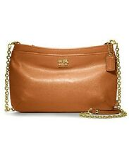 COACH 48515 Madison Cognac brown Leather Zip Crossbody Wallet Clutch w/ chainNWT