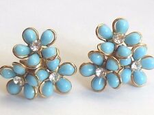 1950's Vintage LUCITE blue flower rhinestone thermoset screw back earrings WOW