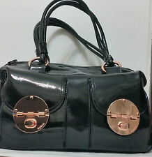 Mimco LARGE TURNLOCK ZIPTOP Leather Hand Bag BNWT Black Rosegold Dust Bag
