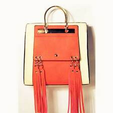 CORAL PINK & CREAM COLOR BLOCK LONG TASSEL TRIM BAG