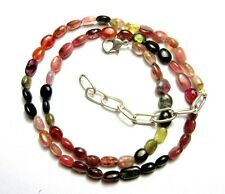 """76.60 Cts Natural Multi Tourmaline Gemstone Oval Smooth Beads 19"""" NECKLACE S50"""
