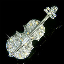 New w Swarovski Crystal MUSIC Musical ~VIOLIN VIOLA CELLO Fiddle PIN BROOCH Xmas