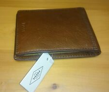 Fossil wallet men's brown leather bifold new with tags