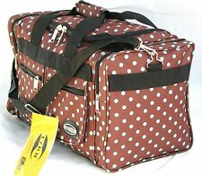 "20"" 40LB. CAP BROWN WITH BLUE POLKA DOTS DUFFLE BAG/ GYM BAG / LUGGAGE/ CARRY ON"