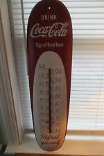 Vintage 1949 metal Coca-Cola advertising thermometer, cigar shape, soda, wall