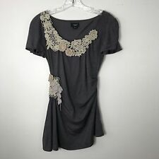 Anthropologie Deletta Gray Brown and Cream Crochet Flower Top Blouse Size XS