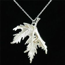 """5-2 Alloy Bright Silver 54mm Maple Leaf Pendant Short Chain Chunky Necklace 18"""""""