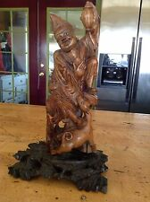 Antique Chinese Pear Wood Carving Ji Gong Mad Monk Imortal
