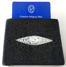 Genuine 1 Eye Real Stingray Leather Skin Trifold Man Wallet Shiny Black New