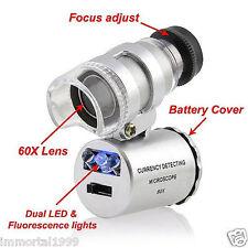 LOUPE portable de bijoutier horloger  éclairé LED+UV Grossissement 60 x 3,5
