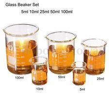 5 tlg Becherglas Set Messbecher Glas Labor Borosilikat Ofenfest Becher 15-100ML