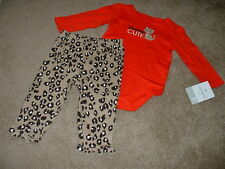 Carter's Baby Girls Seriously Cute Set Leopard Outfit Size 6 Months 6M NWT NEW