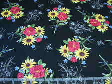 3 Yards Quilt Cotton Fabric - Quilting Treasures Floral Etchings Bouquet Toss