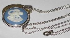 """WEDGWOOD JEWELLERY SILVER PENDANT & NECKLACE CHAIN JASPER BLUE 17"""" POTTERY 925"""