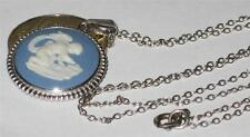 "WEDGWOOD JEWELLERY SILVER PENDANT & NECKLACE CHAIN JASPER BLUE 17"" POTTERY 925"
