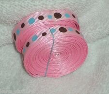 "Pink Dot Print Grosgrain Ribbon, 3/8"" Korker Bow Scrapbooking, Note Cards Craft"