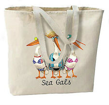Sea Gals Pelicans New Large Canvas Cotton Beach Tote Bag