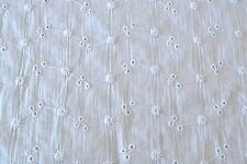"""White Embroidered Eyelet 100% Cotton Crinkled Lawn 54"""" Wide Fabric by the Yard"""