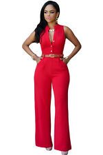 New Stunning Ladies Red Belted Wide Leg Jumpsuit Size 8 10 12 14 16 18 UK