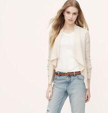 NWT Ann Taylor Loft Whisper White Chunky Cttn Open Shawl Cardigan Sweater $69 PS