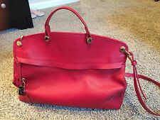 FURLA Red/Gold Piper Saffiano Leather Satchel/Cross Body Bag $448