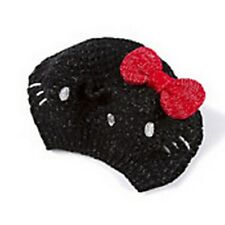 Hello Kitty Crocheted Beret with Metallic Thread Black with Red Bow Women's -NWT