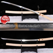 Full Tang Shirasaya Sword Damascus Katana Clay Tempered Real Hamon Sharp Blade