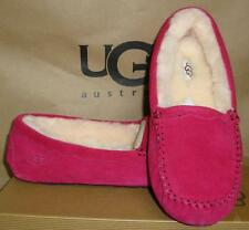 UGG Australia Burgundy Wine SCALLOPED Suede Sheepskin Mocassins Shoes Size 7 NIB