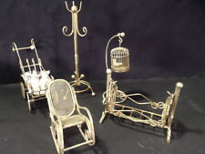 Dollhouse Furniture - 5 Piece Brass Lot with Bird Cage