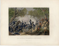 Hand Colored Steel Engraving ~ Taylor at Battle of Okey Chobey ~ Virtue (1860)