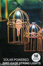 10 Piece LED Solar Bird Cage String Light Kit - Beautifully Ornate!