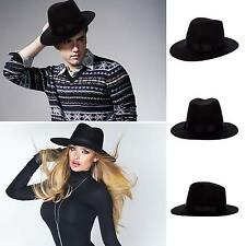 Black Wool Felt Vintage Women Men Wide Brim Fedora Trilby Hat Floppy Panama Cap