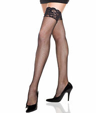 Sexy Music Legs White Fishnet Stay-up Thigh-High Stockings w Silicon Lace Top
