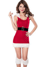 Women's Christmas North Pole Santa Babe with Fur Trimmed Hood Belt Fancy Dress