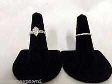 14k White Gold Large Pear Shaped Diamond Engagement Ring and Wedding Band Set