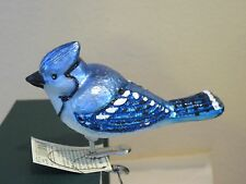 Bright Blue Jay clip Old World Christmas glass ornament II