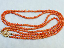ANTIQUE HAND CARVED SALMON CORAL 2 STAND 4mm BEAD NECKLACE, STERLING CLASP