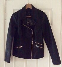 New Look Black Faux Leather Biker Jacket with Gold Zips UK 10 BNWT *FREE P&P*