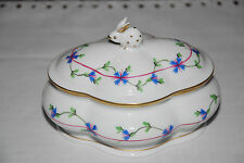 HEREND Porcelain Bonbon dish with Rabbit finial top signed & numbered