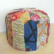 Small Bohemian Pouf Ottoman Patchwork Footstool Kantha Indian pouf Cover Throw