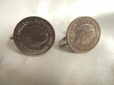 WOW Vintage Silver JULIANA KONINGIN DER NEDERLANDEN Coin CLIP Earrings 15CE48