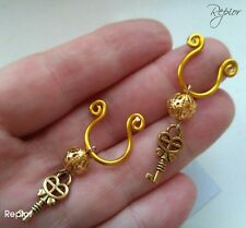 2 X Gold Key Nipple Ring Intimate Body Jewellery Non Piercing Nipple Clip On