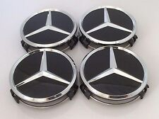 4x MERCEDES BENZ lega ruota centro center caps neri 75mm A B C E S ML Classe S