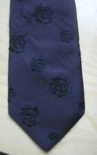 DOLCE & GABBANA BLACK EMBROIDERED BLACK ROSES FLORAL SILK TIE