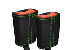 GREEN STITCH 2X FRONT SEAT BELT LEATHER COVERS FITS RENAULT TWINGO 2007-2011