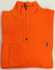 NEW POLO RALPH LAUREN MOCK NECK FRENCH RIB HALF ZIP COTTON PULLOVER SWEATER